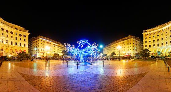 Πανοραμική θέα πλατείας στη Θεσσαλονίκη